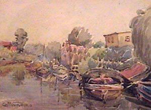 Collivadino Pio  - Embarcadero acuarela  - 15 x 22 cm - 1935