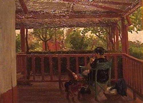 Collivadino Pio  - En la galeria - oleo sobre carton - 37 x 50 cm - 1932