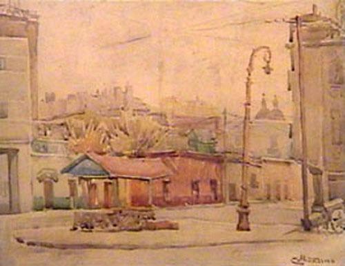 Collivadino Pio  - Paseo Colon San Telmo - acuarela  - 21 x 28 cm - 1940