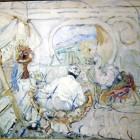 Domingo Candia - Autorretrato en el taller - oleo - 49 x 64 cm - 1945