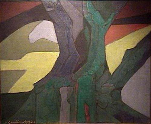 Domingo Candia - El gran arbol - oleo - 63 x 70 cm - 1952