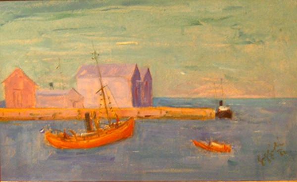 Juan C. Faggioli - Paisaje de Mar del Plata - oleo - 27 x 45 cm - 1978