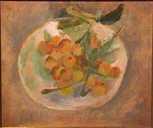Miguel Diomede - Nisperos en el plato - oleo sobre carton - 26 x 32 cm - 1952