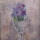 Miguel Diomede - Vaso con Violetas - oleo sobre tela - 26,7 x 46,8 cm - 1962