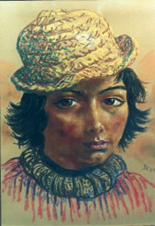 Niño con sombrero de paja
