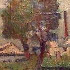 Paisaje suburbano - oleo - 26 x 14cm - 1922