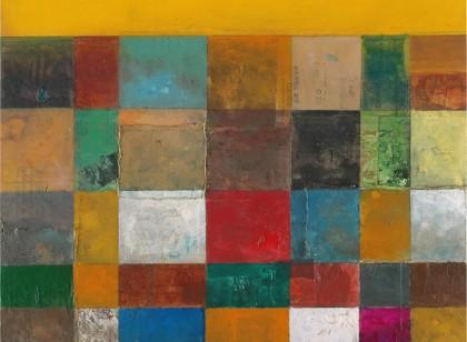 Construcción Multicolor con Cielo Amarillo
