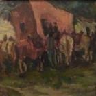Luis Tessandori - Anochecer en el boliche - oleo sobre carton - 24 x 33 cm - 1973