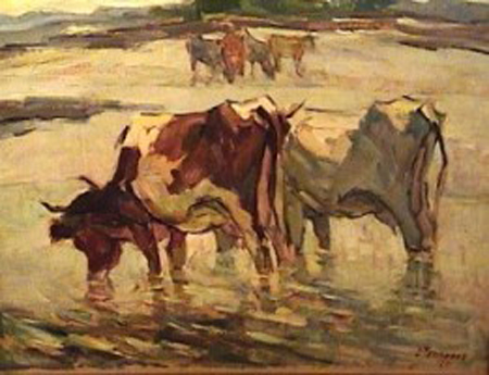 Luis Tessandori - Las lecheras - oleo - 45 x 60 cm - 1960