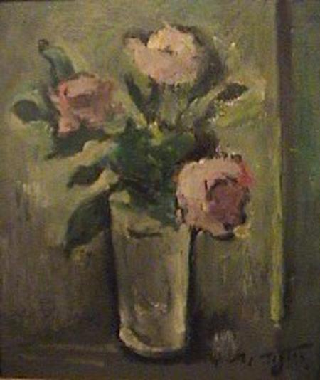 Marcos Tiglio - Florero-(1079)  oleo - 40 x 33 cm - 1954