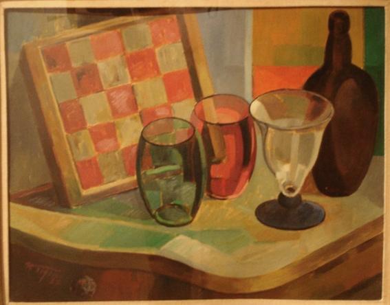 Marcos Tiglio - Los vasos - oleo - 38 x 46 cm - 1937