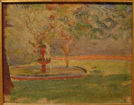 Miguel Carlos  Victorica - La fuente - oleo - 12 x 15 cm - 1940-