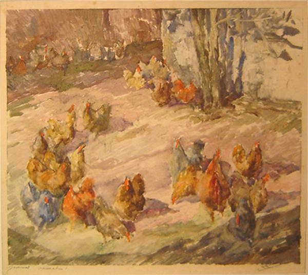 Rafael Muñoz - Gallinas - Monocopia 39 x 43 cm - 1963