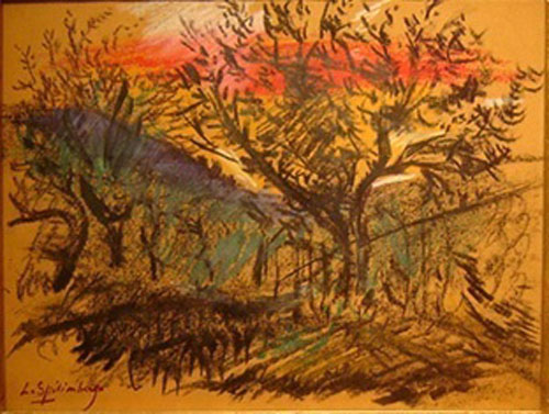 Spilimbergo - Paisaje - Pastel sobre papel - 22 x 28 cm - 1960-